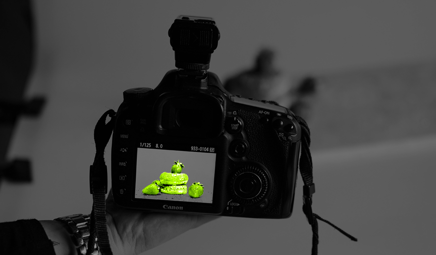 Kamera, mit der Essen fotografiert wurde