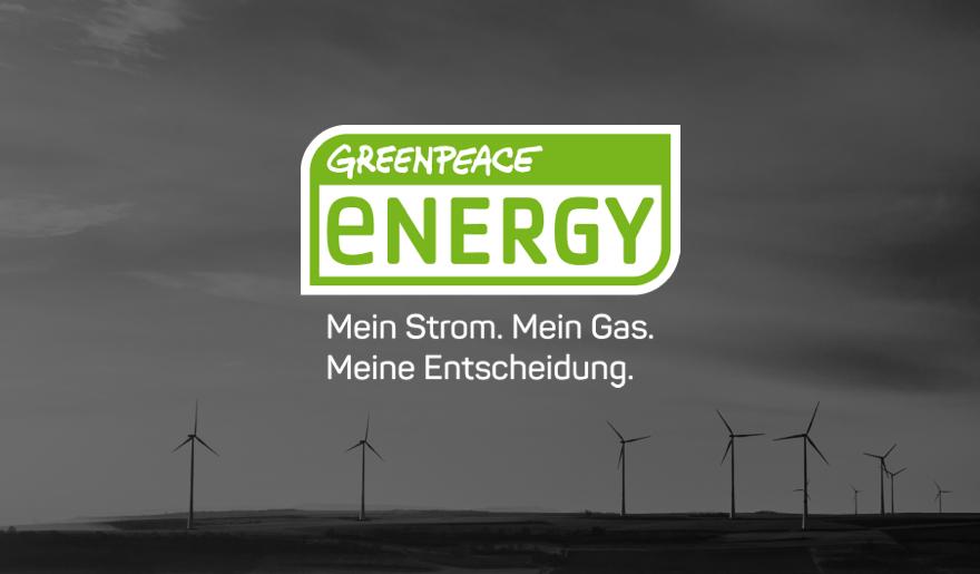 Bild von Windrädern mit dem Logo von Greenpeace Energy